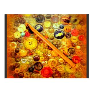 Yo botones del vintage del gancho de ganchillo tarjetas postales