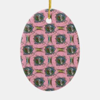 Yo-Ching rosado Adorno Navideño Ovalado De Cerámica