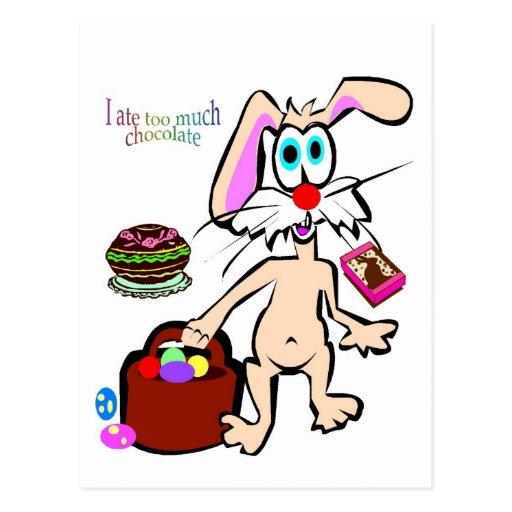 Yo comí demasiada postal del chocolate de Pascua