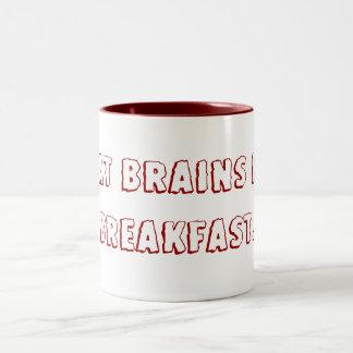 Yo como los cerebros para el desayuno taza de dos tonos