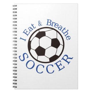 Yo como y respiro fútbol spiral notebook