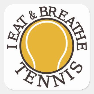 Yo como y respiro tenis pegatina cuadrada
