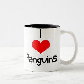 yo-corazón-pingüinos taza de dos tonos