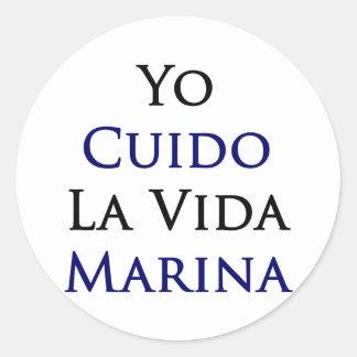 Yo Cuido La Vida Marina Round Stickers