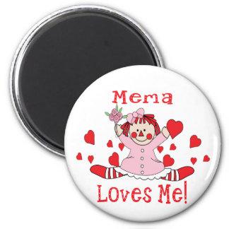 Yo del amor de Mema muñeca de trapo Imán Redondo 5 Cm