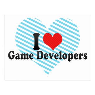 Yo desarrolladores del juego de amor tarjeta postal