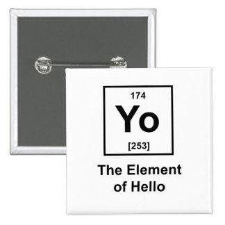 ¡Yo! El elemento de hola Pin Cuadrado