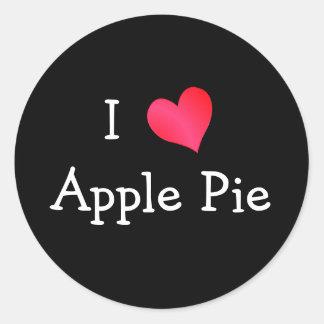 Yo empanada de Apple de amor Pegatina Redonda