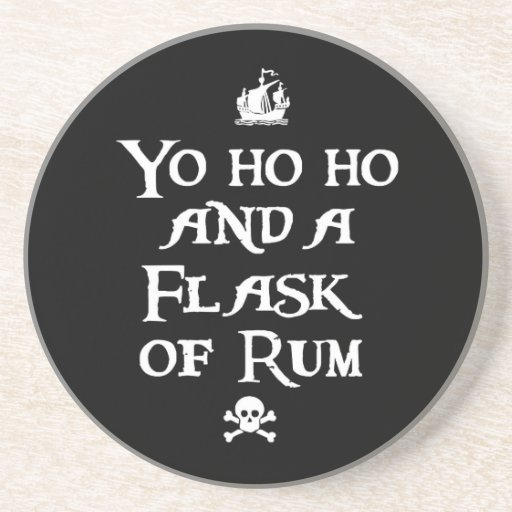Yo ho ho and a Flask of Rum, Pirate Sandstone Coaster