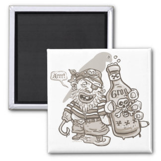 Yo Ho Ho Bottle of Pirate Rum 2 Inch Square Magnet