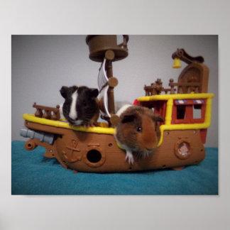 yo ho ho guinea pigs on ship Poster