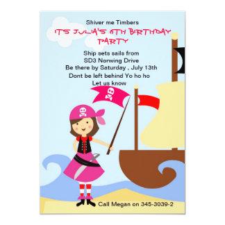 Yo Ho Ho Pink Pirate Birthday Party invitation