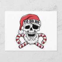 Yo ho ho - pirate santa - funny santa claus holiday postcard
