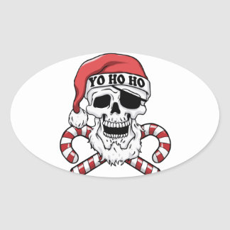 Yo ho ho - pirate santa - funny santa claus oval sticker