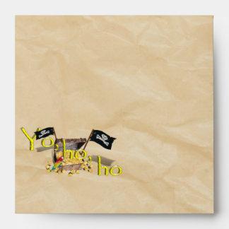 YO HO HO Pirate Treasure Chest on Crinkle Paper Envelope