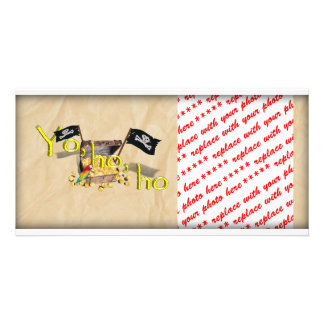 YO HO HO Pirate Treasure Chest on Crinkle Paper Picture Card