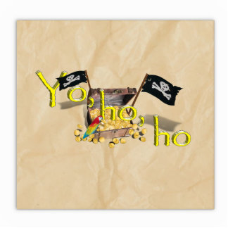YO HO HO Pirate Treasure Chest on Crinkle Paper Cut Out