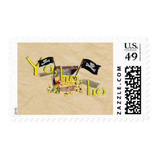 YO HO HO Pirate Treasure Chest on Crinkle Paper Postage