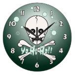 Yo Ho Skull Round Wall Clocks