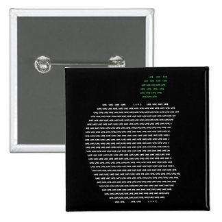 """Yo insignia cuadrada de Apple de amor 5,1 cm (2"""") Pin Cuadrada 5 Cm"""