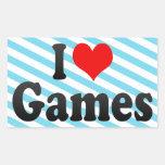 Yo juegos de amor rectangular pegatinas