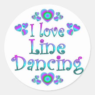 Yo línea de amor baile etiqueta redonda