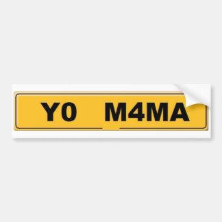 Yo Mama Registration Plate Bumper Sticker