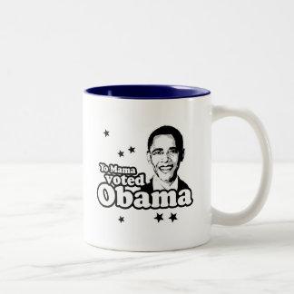 Yo Mama voted Obama T-shirt Two-Tone Coffee Mug