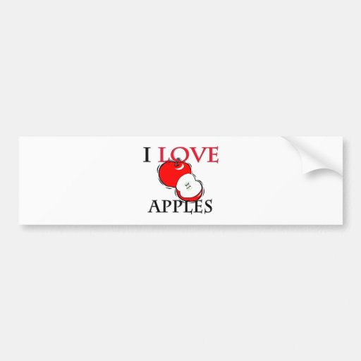 Yo manzanas de amor pegatina de parachoque