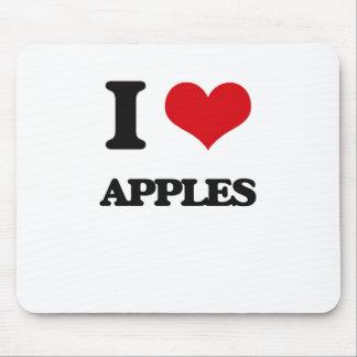 Yo manzanas de amor alfombrilla de ratón