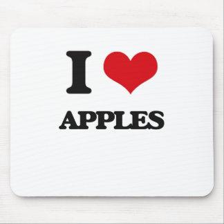 Yo manzanas de amor tapetes de raton