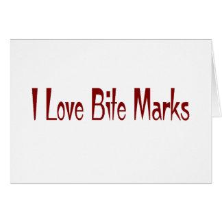 Yo marcas de la mordedura de amor tarjeta de felicitación