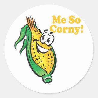 Yo mazorca de maíz TAN sensiblera Etiqueta Redonda