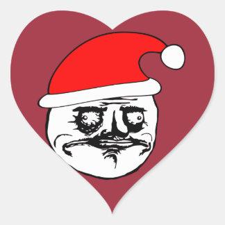 yo meme de Navidad del gusta Pegatina En Forma De Corazón