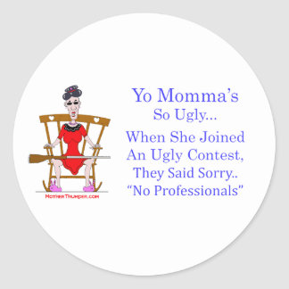 Yo Momma # 04 Classic Round Sticker