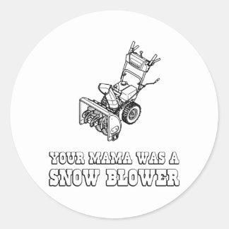 Yo Momma Robot Joke - Mama Was A Snow Blower Classic Round Sticker