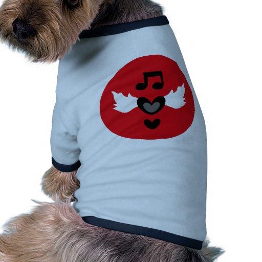 """""""Yo música rock del corazón """" Camiseta Con Mangas Para Perro"""