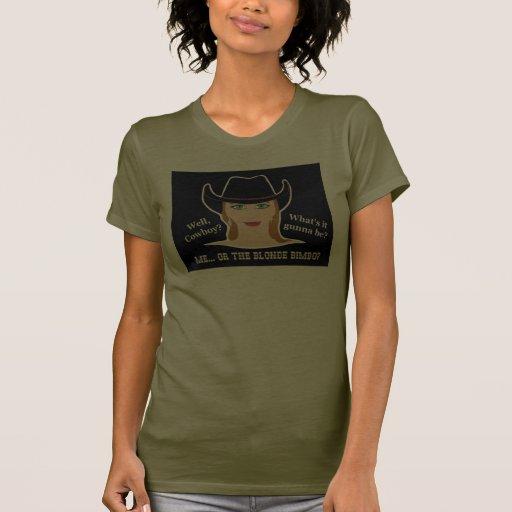 Yo o la camiseta rubia de la vaquera