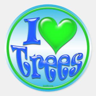 Yo pegatinas de los árboles de amor etiqueta redonda
