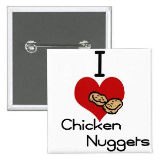 Yo pepitas de pollo del corazón-amor pin cuadrado