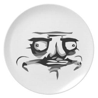 yo placa frontal cómica de la tela del gusta plato para fiesta