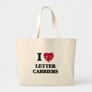 Yo portadores de letra de amor bolsa tela grande