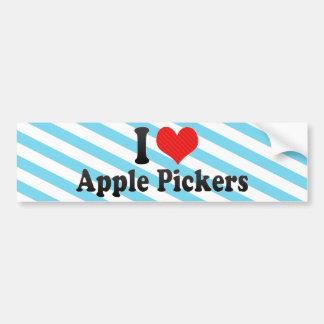 Yo recogedores de Apple de amor Etiqueta De Parachoque