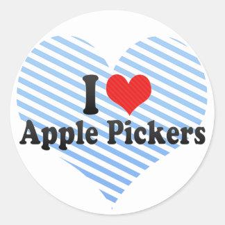 Yo recogedores de Apple de amor Etiquetas Redondas