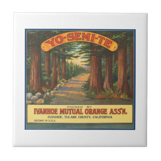 YO-SEMI-TE Vintage Fruit Crate Label Ceramic Tile