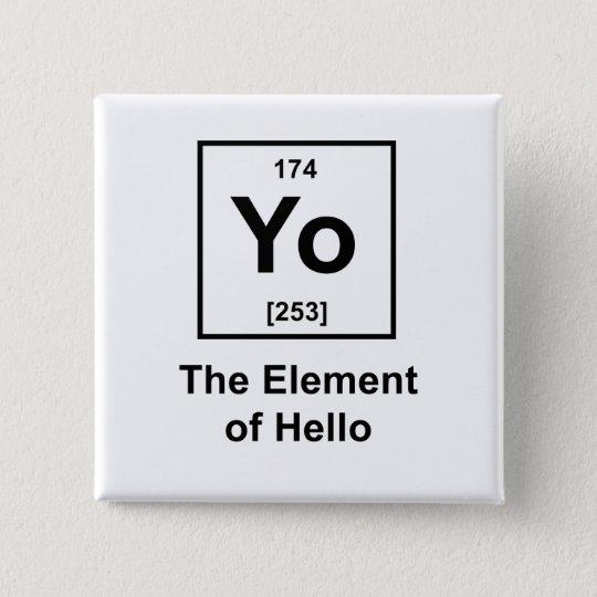 Yo! The Element of Hello Pinback Button
