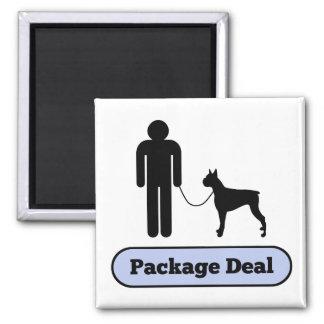 Yo y mi acuerdo global del perro del boxeador imán cuadrado