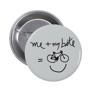 yo y mi bici = felicidad pin redondo 5 cm