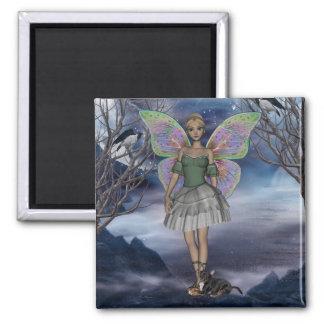 YO y verde 1 del faerie Imán Cuadrado