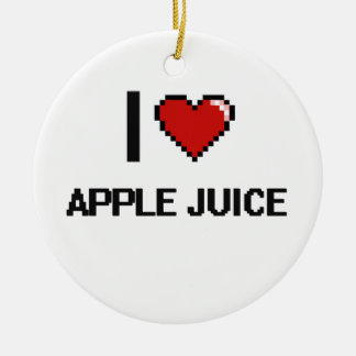 Yo zumo de manzana de amor adorno redondo de cerámica